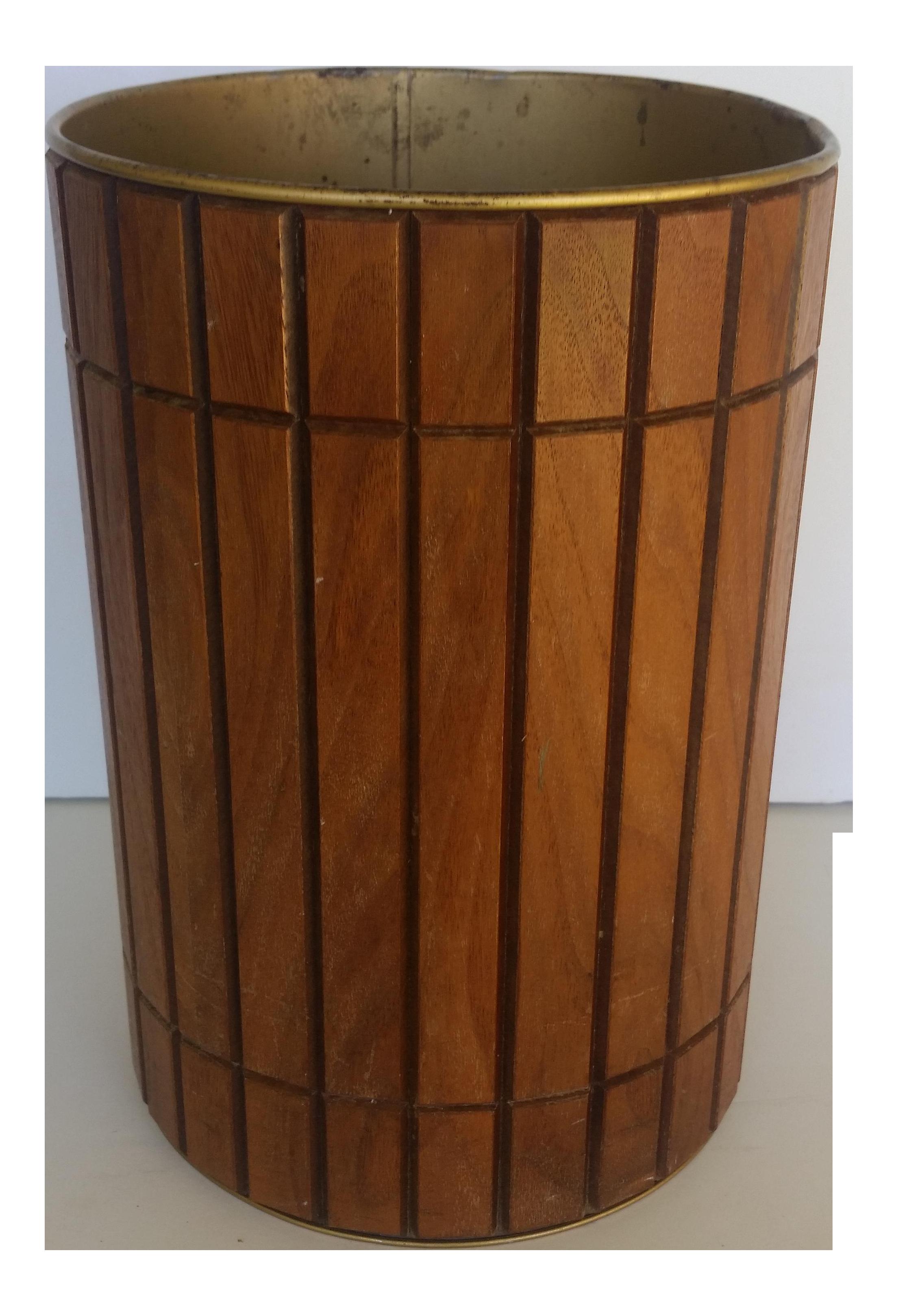 Vintage Gruvwood Trash Can Waste Basket Wood Trash Can Waste