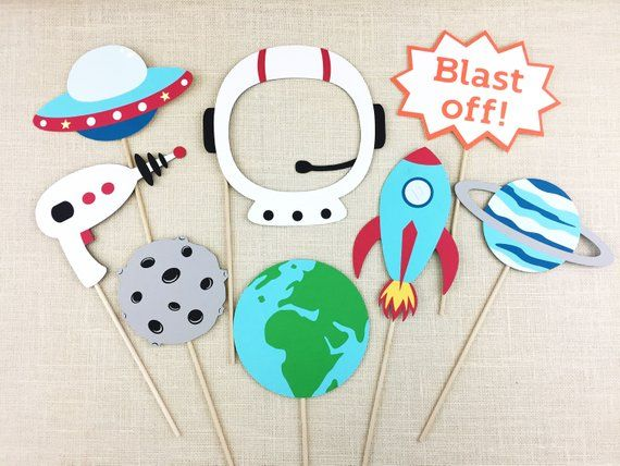 Space Galaxy Photo Booth Props / Astronaut Party / Rocket / Spaceship / Outer Space Birthday Theme / Kids Party / FULLY ASSEMBLED / 8 PC
