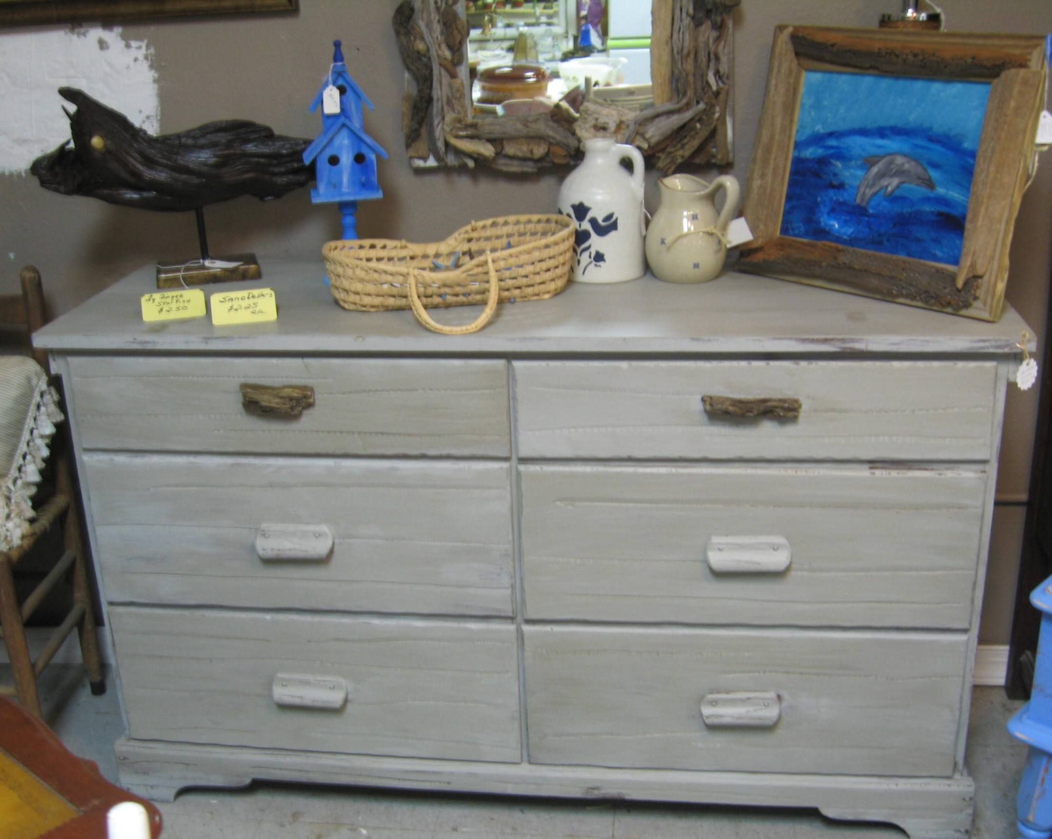 Six Drawer Dresser Painted With Dixie Belle Mineral Paint In Driftwood And  Finished With Grunge Glaze
