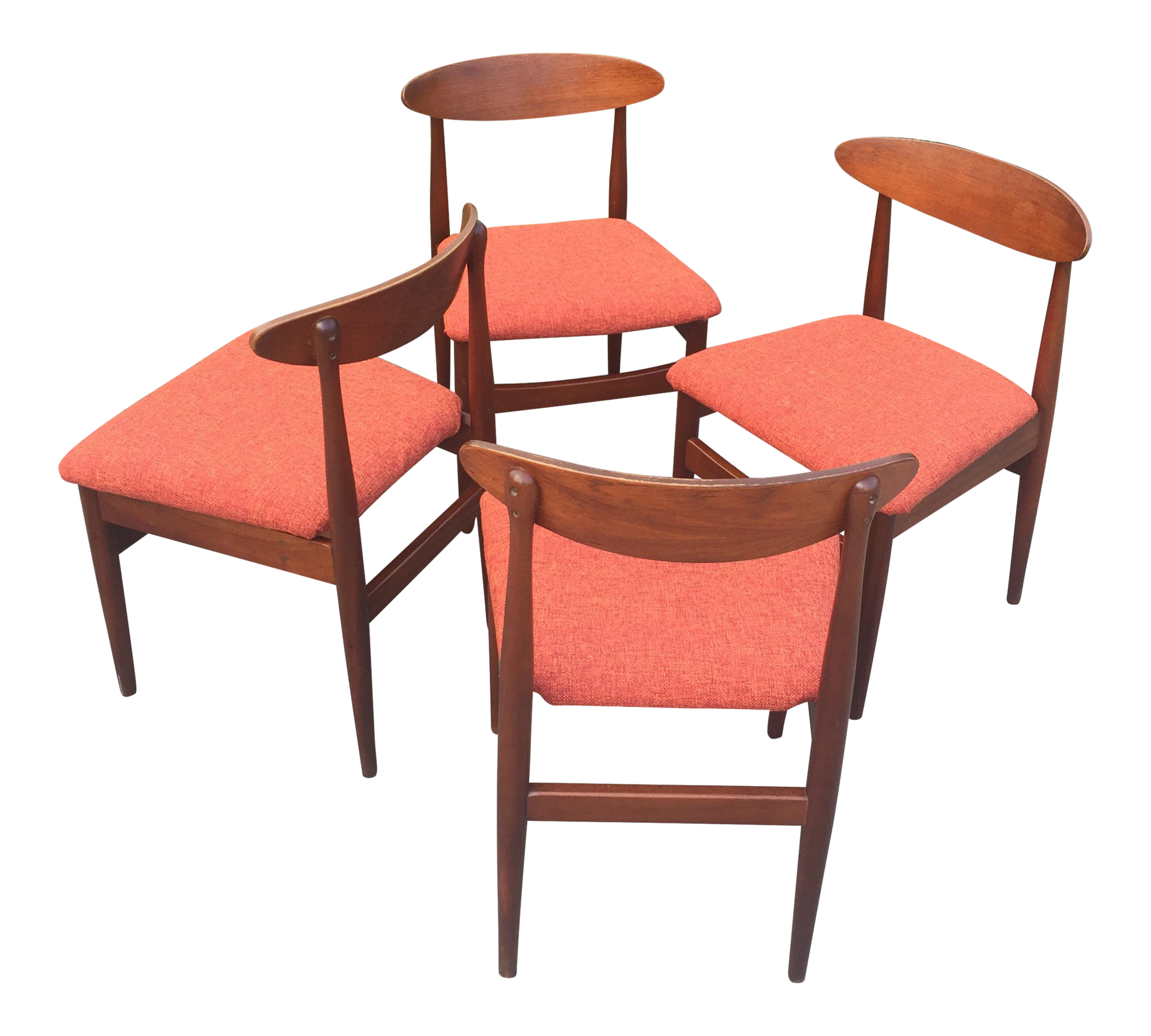 Cool Mid Century Modern Teak Curved Back Dining Chairs Set Of 4 Ncnpc Chair Design For Home Ncnpcorg