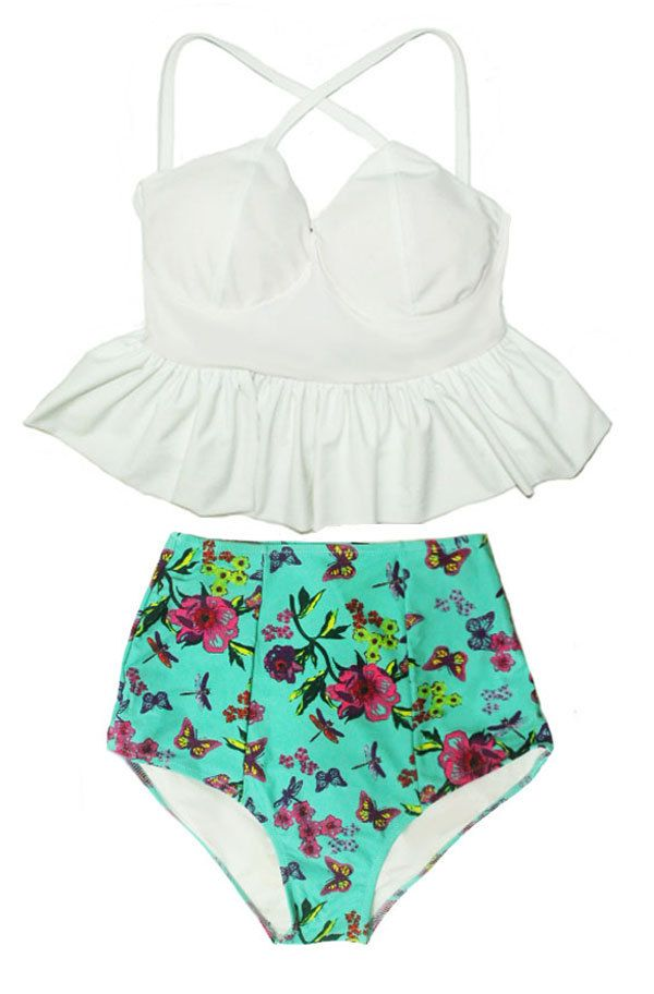 79286a468f2e2 White Peplum Top and Mint Flora High waist waisted Highwaisted Highwaist Bottom  Swim Swimsuit Swimwear Bikini Bikinis set Bathing suit S M L by venderstore  ...