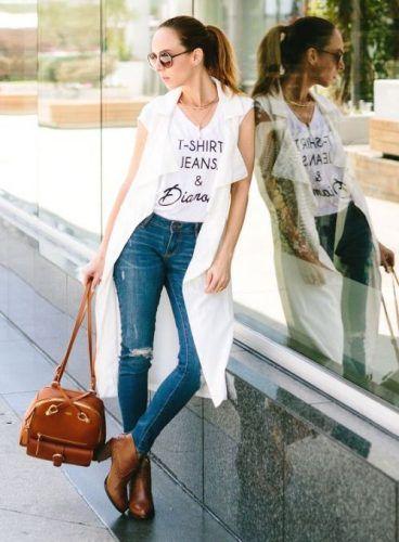 Long White Vest & Skinny Jeans Vest- How to wear long vests http ...