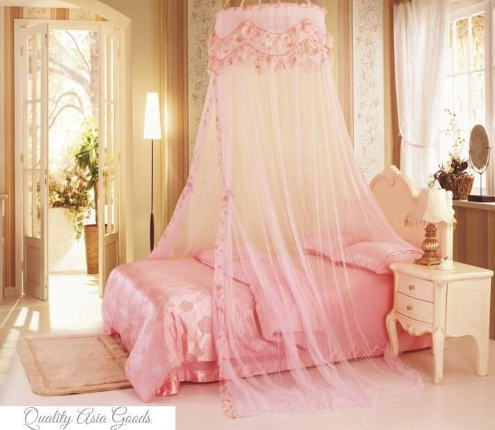 Beautiful Princess Round Top BED CANOPY MOSQUITO NET LIGHT in PINK & Beautiful Princess Round Top BED CANOPY MOSQUITO NET LIGHT in PINK ...