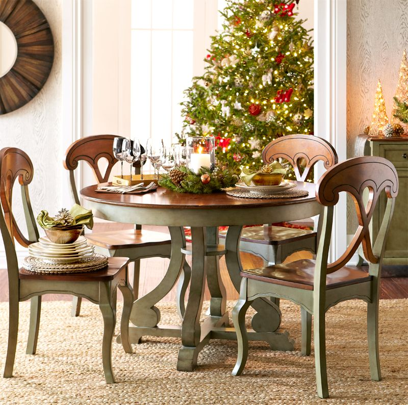 Marchella Sage Round Dining Table  Christmas Entertaining