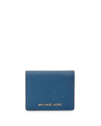 Jet+Set+Travel+Saffiano+Card+Holder,+Steel+Blue+by+MICHAEL+Michael+Kors+at+Neiman+Marcus.