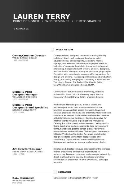 owner  creative director resume example
