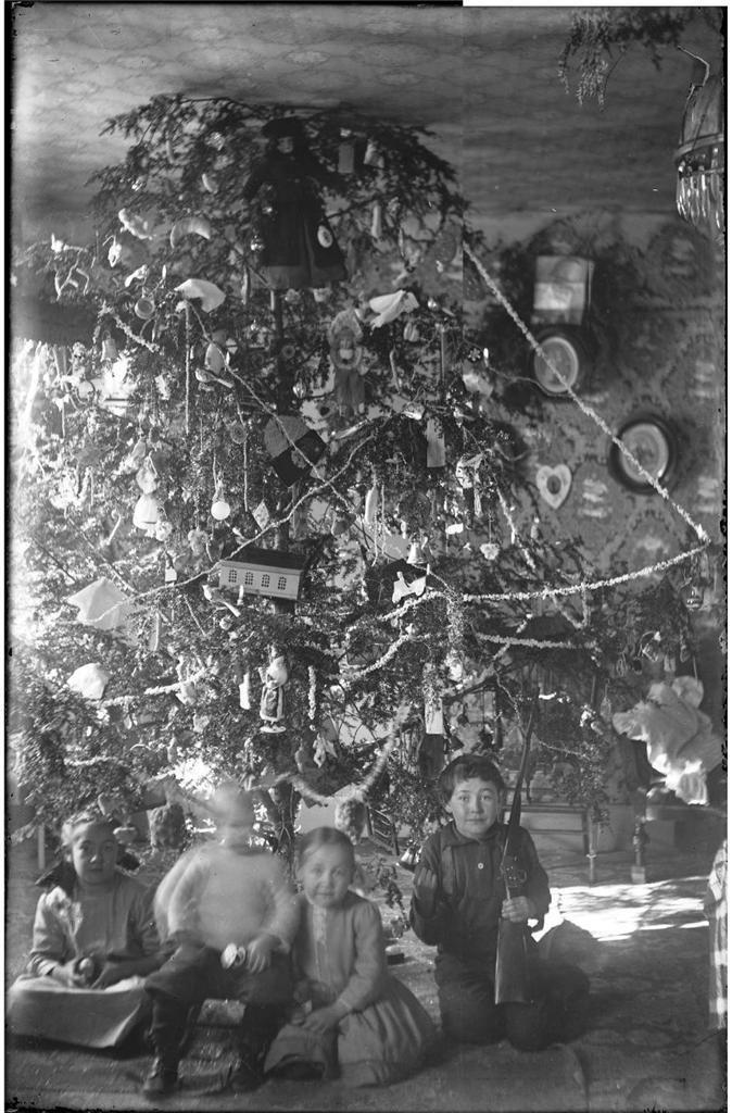 1900s HUGE CHRISTMAS Tree Glass Photo Neg SURREAL Toy Rifle Ornament