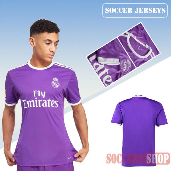 detailed pictures 97599 40a83 Latest Real Madrid Purple 2016 2017 Away Soccer Jersey ...
