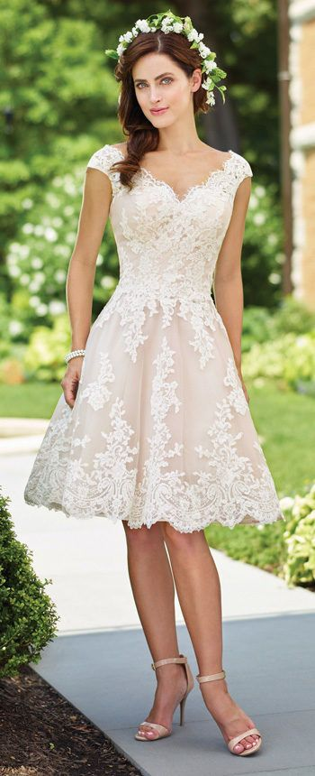 8a748594a0c 117185 by Mon Cheri Tea Length Wedding Dresses