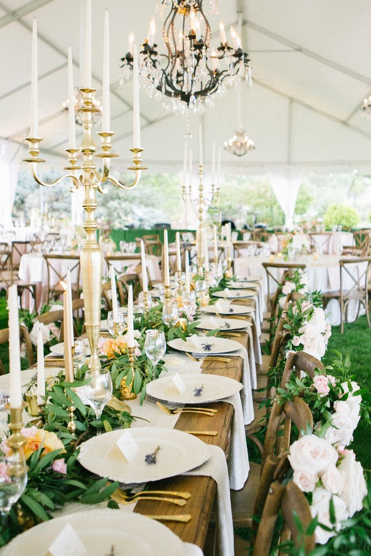 Leafy Garland, Taper Candle Wedding Centerpieces | Cori Cook Floral ...