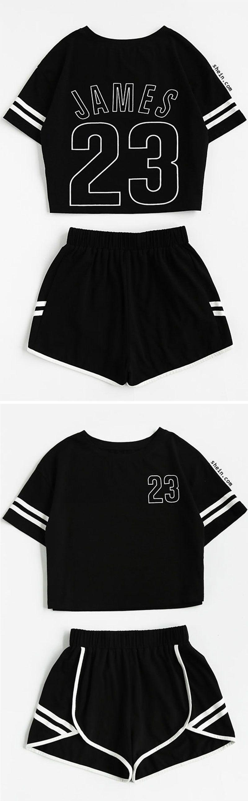 851cdfd197 Crop Varsity T-shirt And Contrast Binding Notch Shorts Set ...