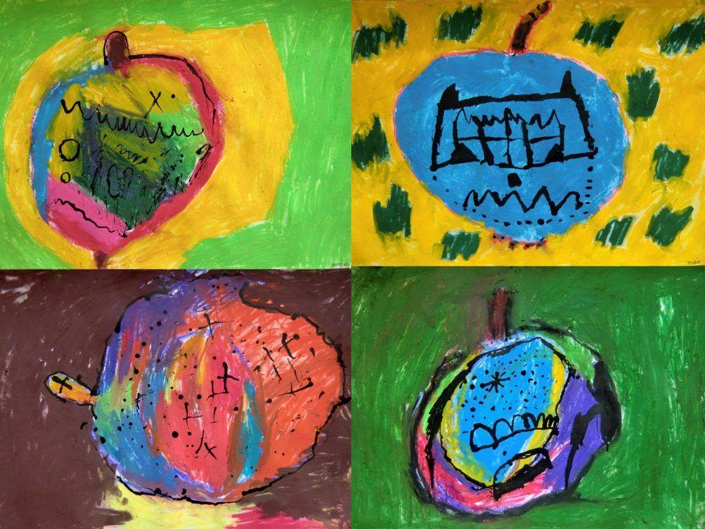 OTRÁVENÉ JABLKO PRO SNĚHURKU - vystižení znaků jablka, fantaskní zpracování jedovaté barevnosti (malba mokrým pastelem)