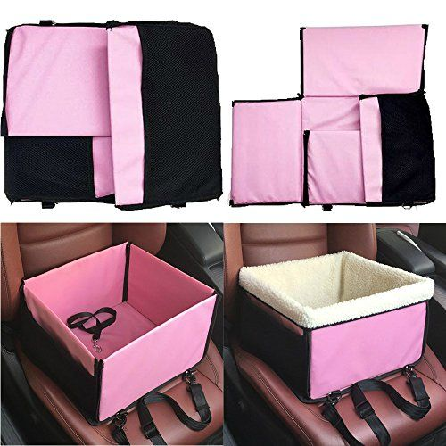 REXWAY Deluxe Portable Dog Booster Car Seat Pink With Detachable Soft Cover ClipOn Safety Leash And Storage Pocket Perfect For Small Dogs Cats Read
