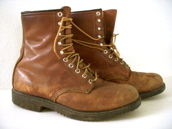 RED WING Work Boots - Vintage 80s Brown Leather Work Boots ...