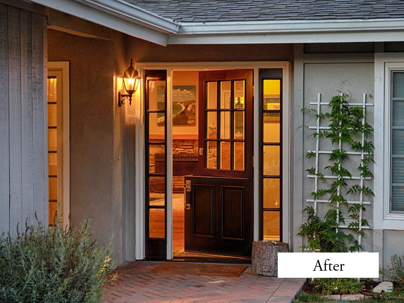 Jeldwen Aurora Fiberglass Dutch Door With Sidelights Model A 5944 Mahogany Grain Factory Split Finish Sable Stain Exterior And Eggshell Painted