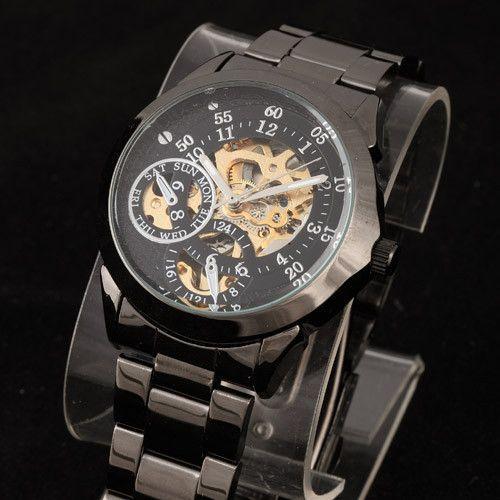 Top Brand Mens Full Black Self Wind Watch Classic wristwatches Steampunk Skeleton Mechanical Men Fashion Stainless Steel Watch Alternative Measures
