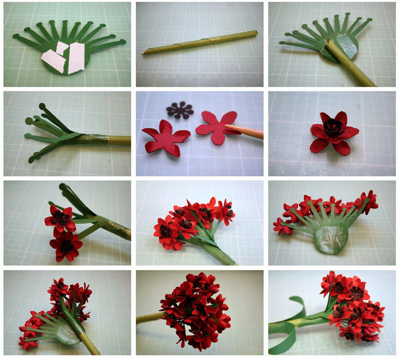 Bits of Paper Ixora and Geranium 3D Paper Flowers and a 3D Planter