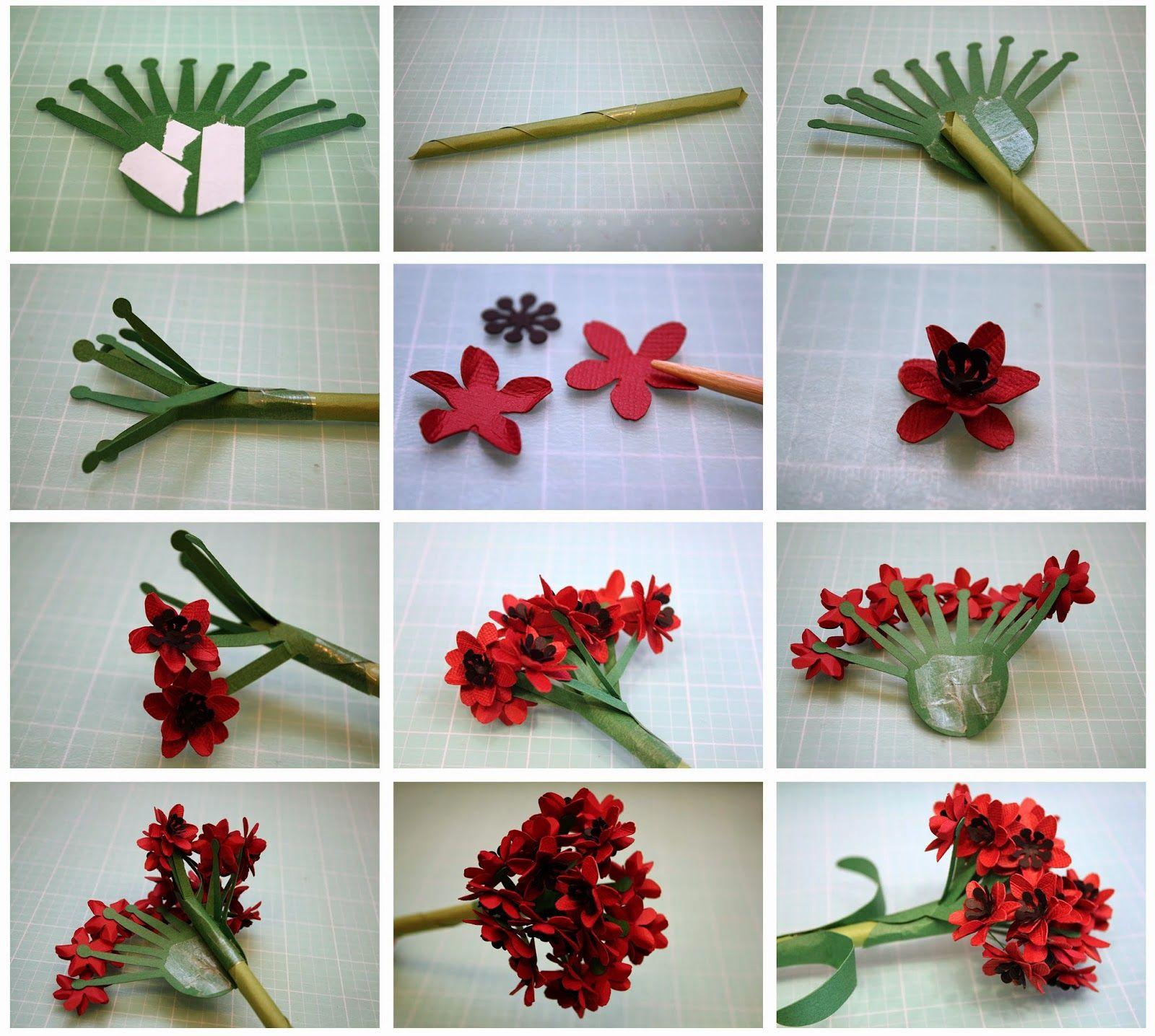 Bits Of Paper Ixora And Geranium 3d Paper Flowers And A 3d Planter