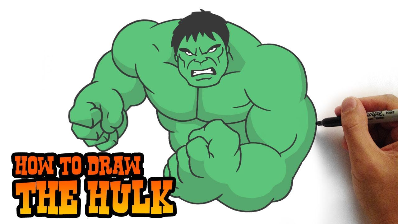 How To Draw The Hulk Simple Step By Step Video Lesson Cartoon Drawings Drawing Superheroes Drawing Cartoon Characters