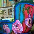 Custom Made Pair of Hand Painted and Upholstered vintage Carved Arm Chairs by Jane Hall The Voice of Style