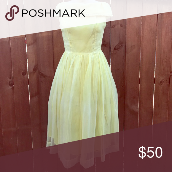49bf827a0e5 Vintage 1950s - 1960s yellow party prom dress Yellow vintage party dress!  Just darling for a garden party