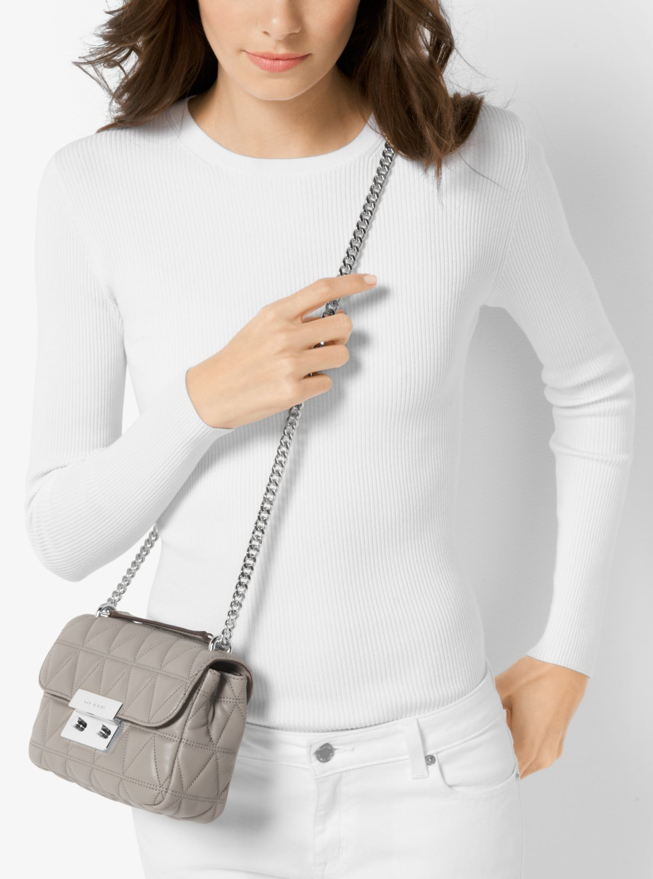 d6d8bf2c2ec8 Online Michael Kors Pearl Grey Sloan Small Quilted-Leather Shoulder Bag Sale