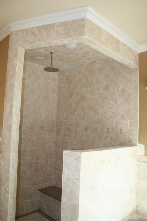 Tile Walk In Shower With Shower Bench And Overhead Shower No Glass Door To Wash Custom Home