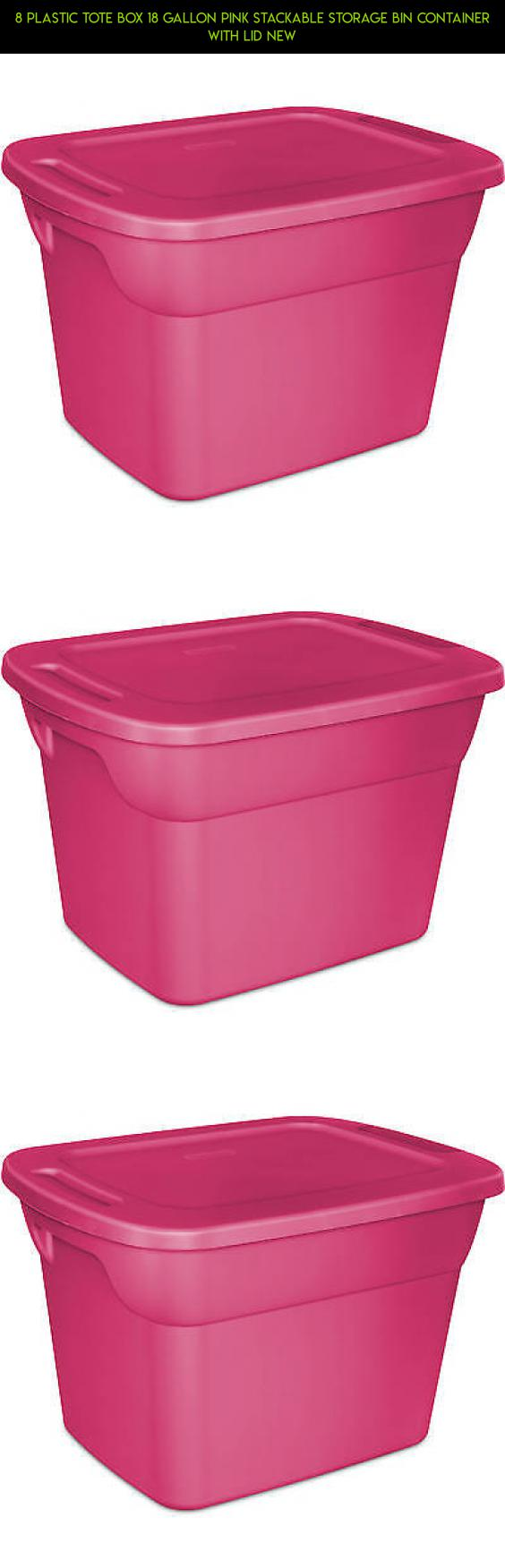 8 Plastic Tote Box 18 Gallon Pink Stackable Storage Bin Container With Lid  NEW #plans