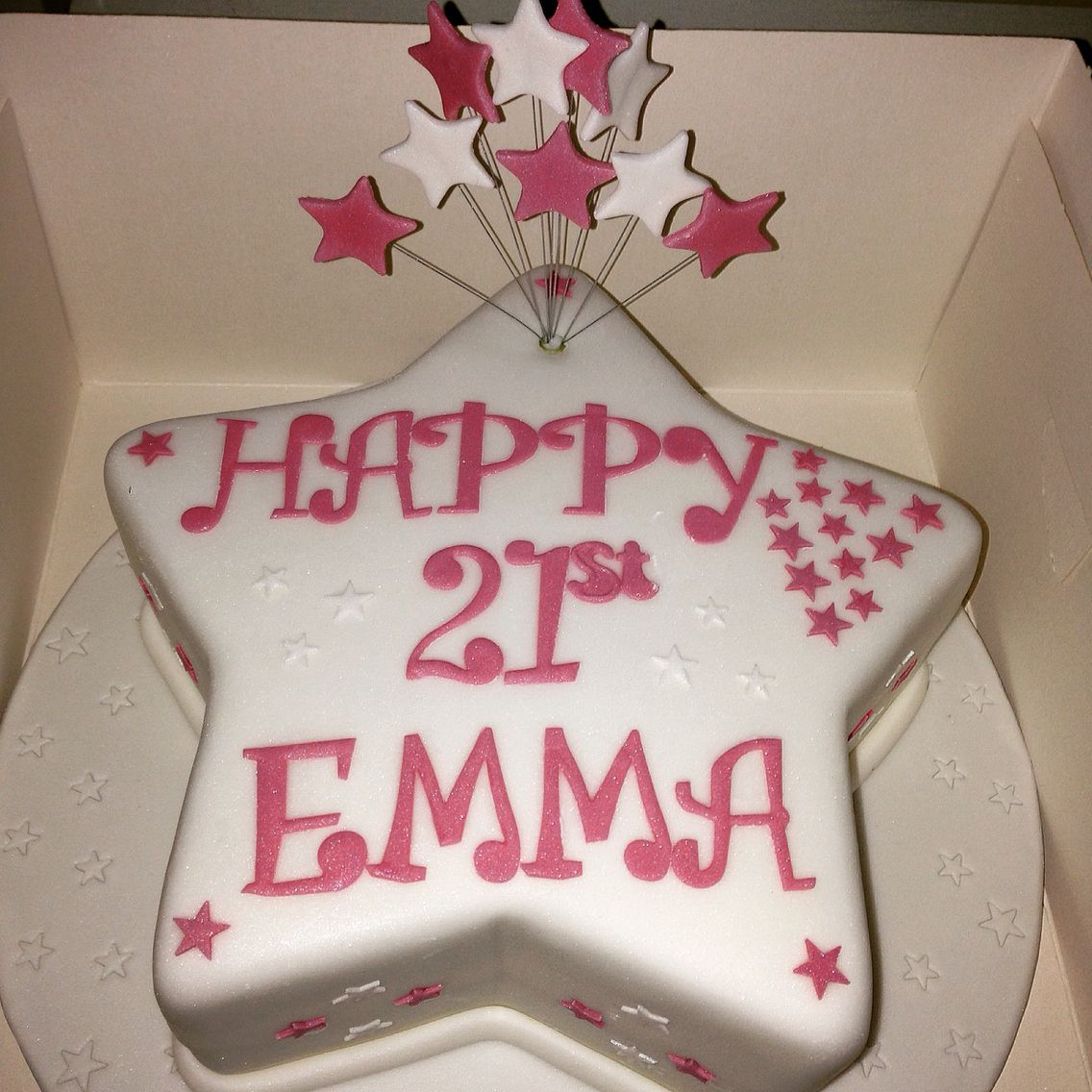 Miraculous Pink White Star Happy 21St Birthday Cake By Shelles Bakes Funny Birthday Cards Online Alyptdamsfinfo