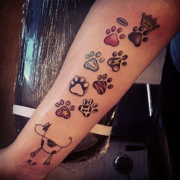 katzen pfoten tattoo unterarm