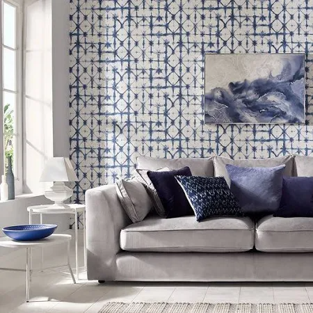Blue Ivory Peach Ikat Wallpaper Google Shopping Indigo Wallpaper Blue Wallpapers Home Wallpaper