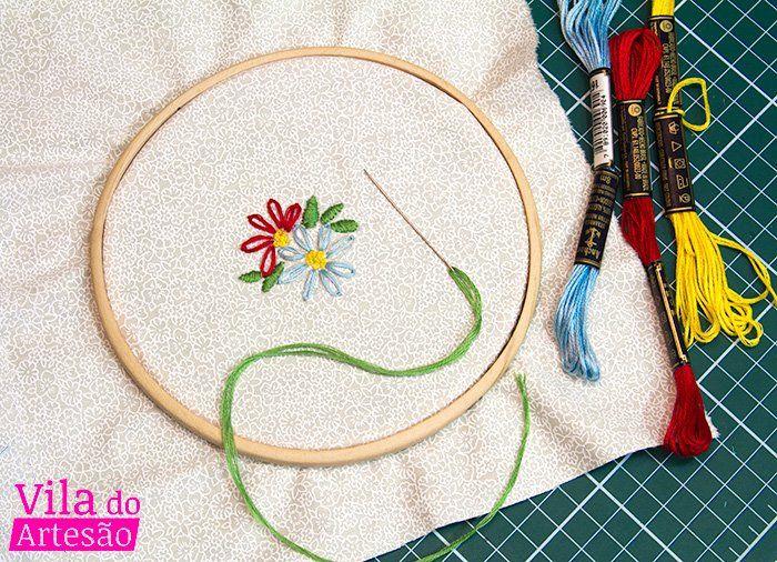 Como bordar uma flor simples   Bordado   Pinterest   Bordado, Como ...