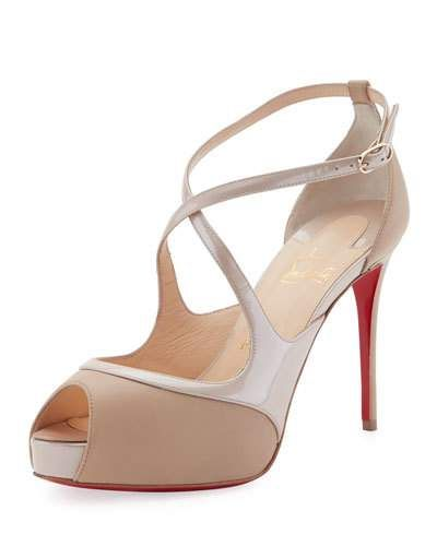 9747c09b833b CHRISTIAN LOUBOUTIN Mira Bella Crisscross Platform Red Sole Sandal ...