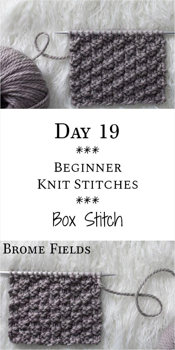 Box Knit Stitch : Day 19 of the 21 Days of Beginner Knit Stitches : Brome Fields : #21daysofbeginnerknitstitches