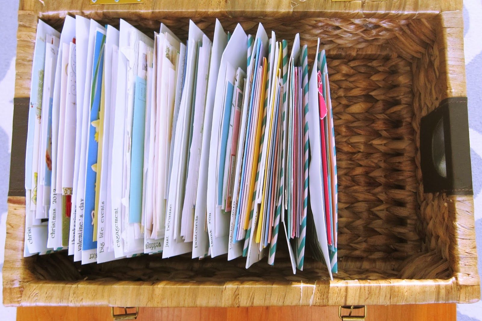How To Organize Greeting Card Mementos Old Gift Cards Notes Organizing Memorabilia Professional Organizer Paper Filing Advice
