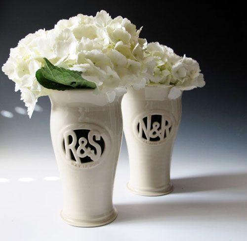 Wedding Giveaway Winner Custom Monogram Vase From Maid Of Clay