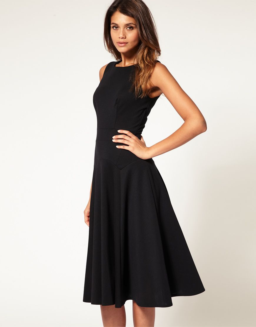 womens black fit and flare dress