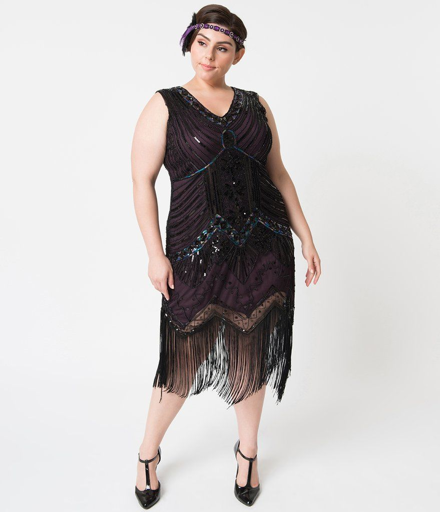 35552ca84d4 Unique Vintage Plus Size 1920s Deco Purple   Black Sequin Veronique Fringe  Flapper Dress