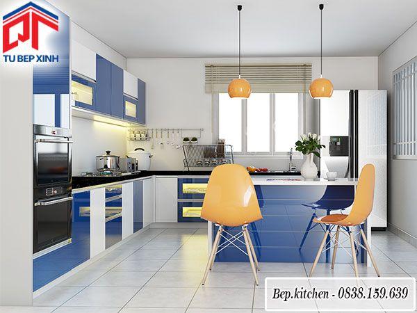 tủ bếp acrylic màu trắng xanh dương