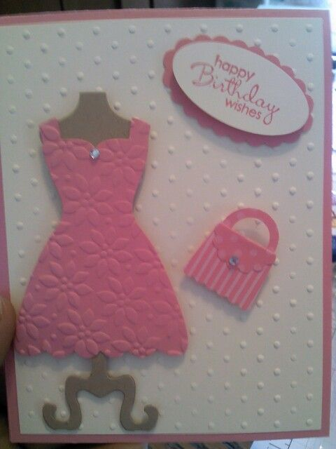Birthday card using my dress up framelits and purse using my cupcake punch love this