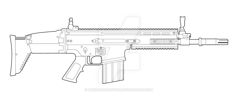 FN SCAR-H Lineart By MasterChiefFox.deviantart.com On