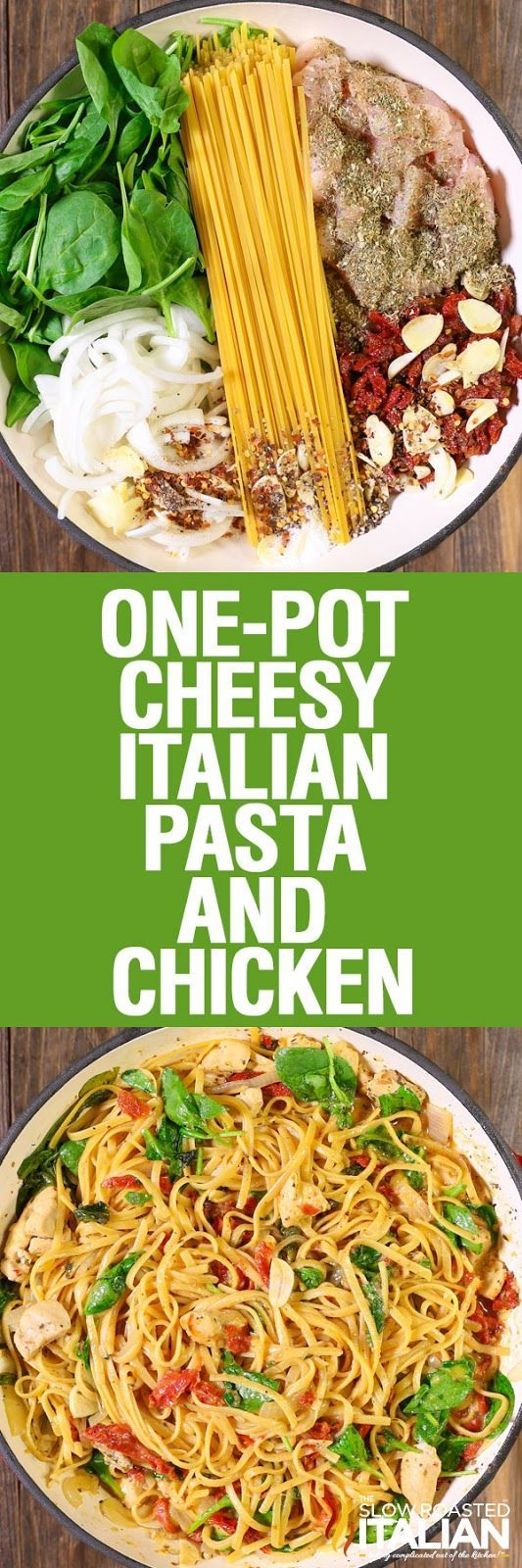 Cheese Italian Pasta and Chicken is a rich and savory dish bursting with your favorite flavors! This simple recipe features a creamy sun-dried tomato sauce that is cooked right into the pasta in this amazing one-pot dish. Toss it all in a pot and let it cook. It's so easy that it just about cooks itself.  Now that's my kind of meal!!!