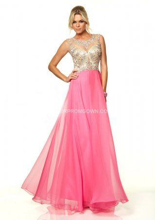 2015 Bright Pink Long Mori Lee 97033 Beaded Open Back Prom Dress