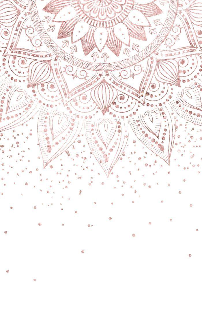 Elegante Oro Rosa Mandala Confeti Diseño Cortinas De La