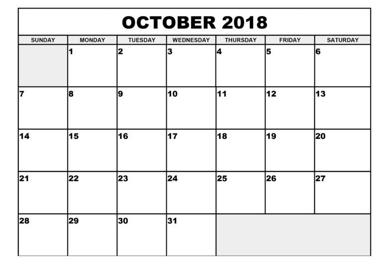 October 2018 calendar document weekday template october 2018 october 2018 calendar document weekday template maxwellsz