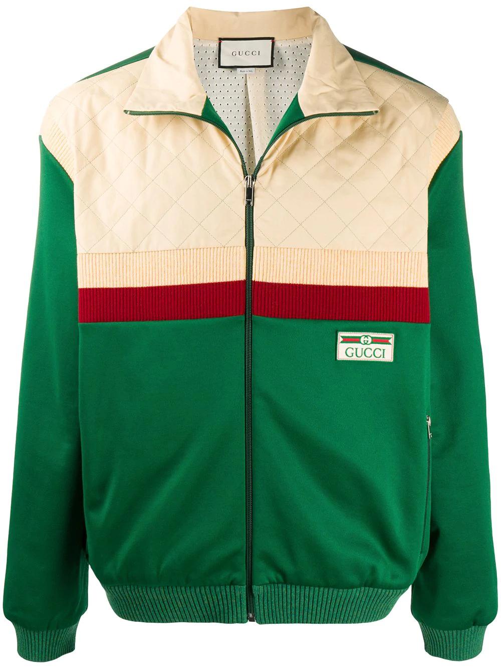 Gucci Colour Block Bomber Jacket Farfetch Bomber Jacket Green Bomber Jacket Designer Clothes For Men [ 1334 x 1000 Pixel ]