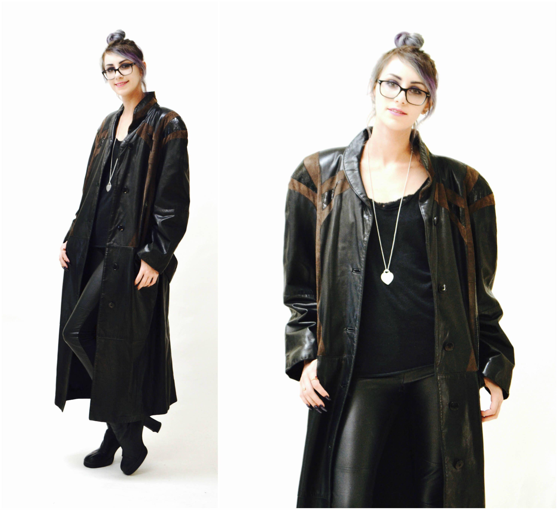 80s Patchwork leather jacket Women/'s genuine leather coat Black zipper jacket Size SM