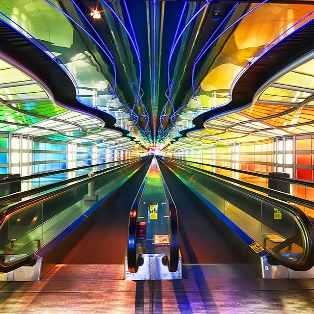 Image result for chicago o'hare neon walkway
