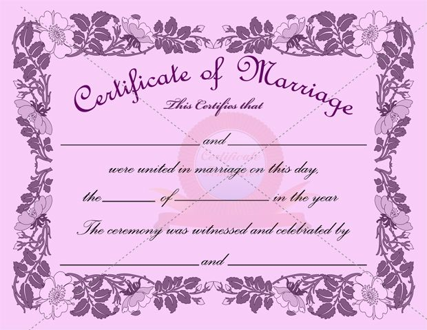 Sample Marriage Certificate Marriage Certificate Template Formats