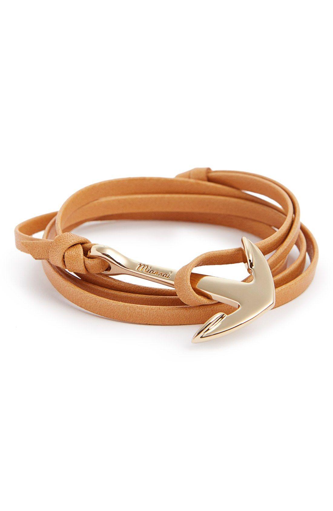 a27f0544ba78 Miansai Gold Anchor Leather Bracelet Tobilleras